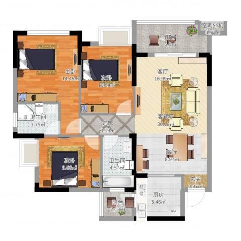 叠彩城一期3室2厅2卫1厨109.00㎡户型图