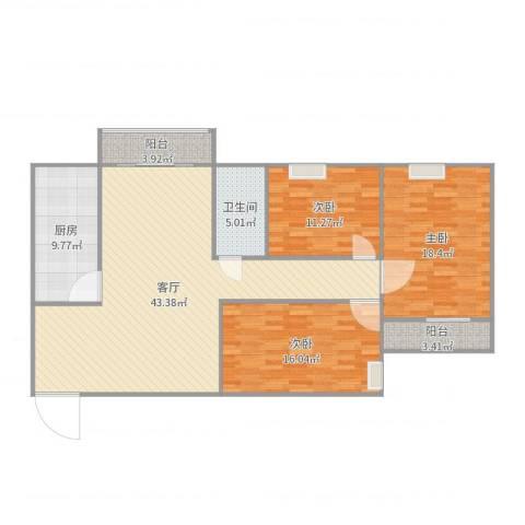 百家湖花园伦敦城3室1厅1卫1厨139.00㎡户型图