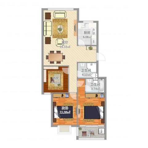 河风丽庭2室1厅2卫1厨110.00㎡户型图