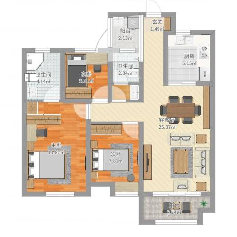 金域华府3室2厅2卫1厨70.08㎡户型图