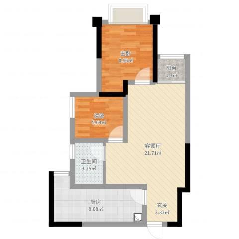 重庆龙城国际仁安里2室2厅1卫1厨62.00㎡户型图