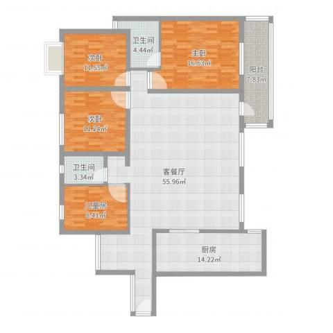 龙江花园4室2厅2卫1厨184.00㎡户型图
