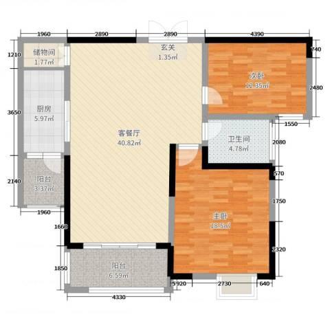 东城阳光府邸2室2厅1卫1厨118.00㎡户型图