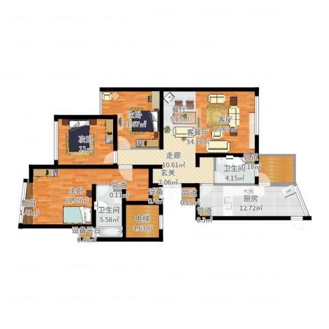 绍兴天下3室2厅2卫1厨139.00㎡户型图