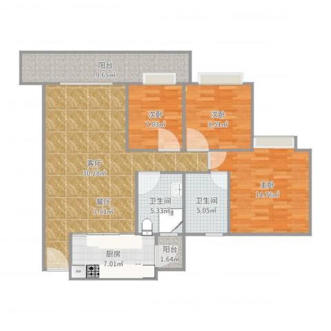 雍景豪园3室1厅2卫1厨112.00㎡户型图