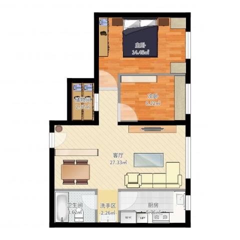 万科红狮家园2室1厅1卫1厨77.00㎡户型图