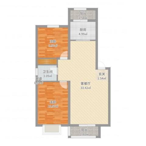 德华花苑2室2厅1卫1厨90.00㎡户型图