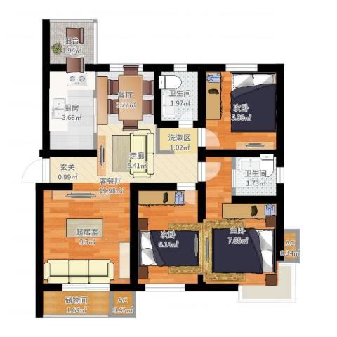 天房峰阁3室2厅2卫1厨64.00㎡户型图
