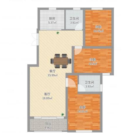 滨河阳光3室1厅2卫1厨113.00㎡户型图