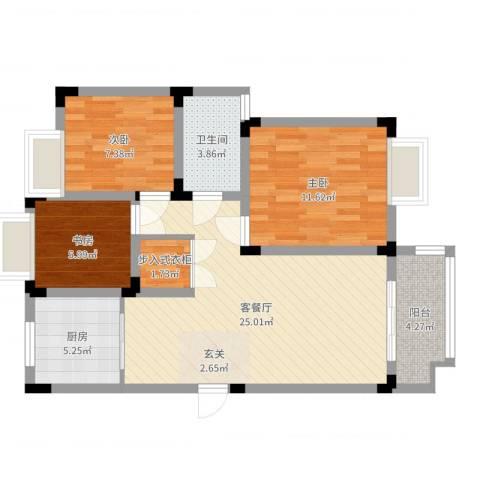 鹅湖一号3室2厅1卫1厨81.00㎡户型图