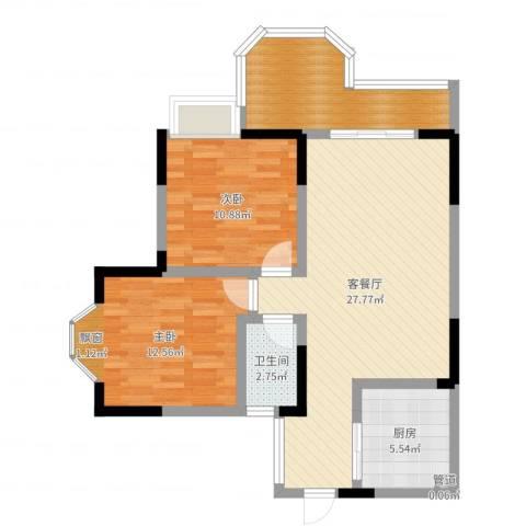 凯泰欧城2室2厅1卫1厨85.00㎡户型图