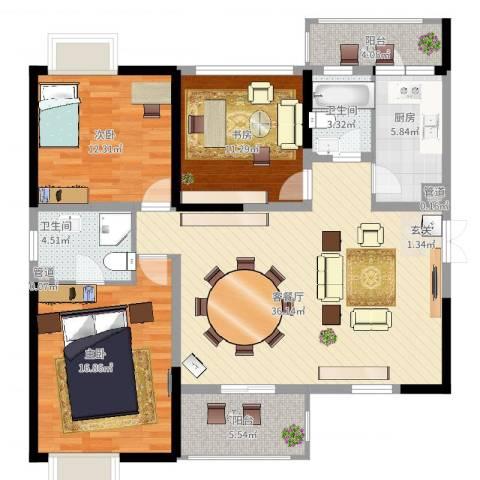 旌城一品3室2厅2卫1厨142.00㎡户型图