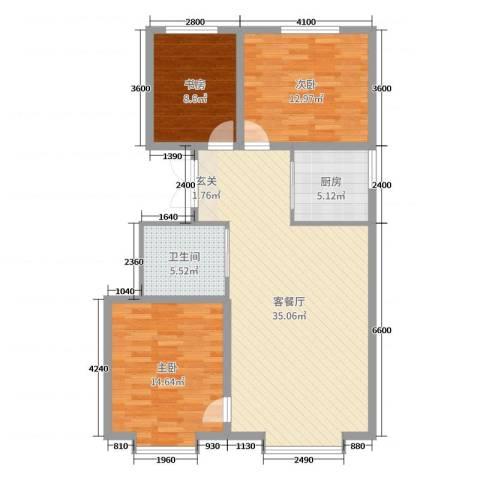 海棠铭居二期3室2厅1卫1厨111.00㎡户型图