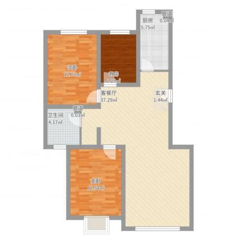 公元20993室2厅1卫1厨112.00㎡户型图
