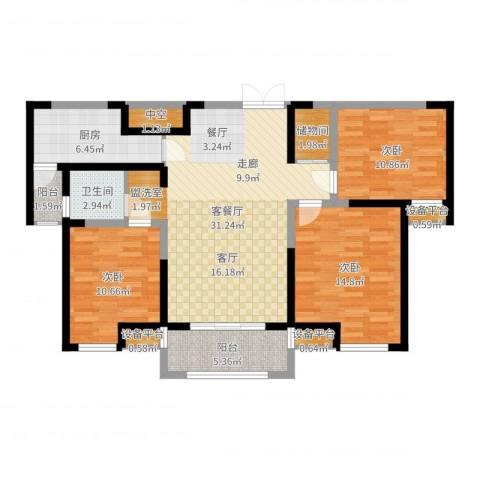财信圣堤亚纳3室2厅1卫1厨111.00㎡户型图