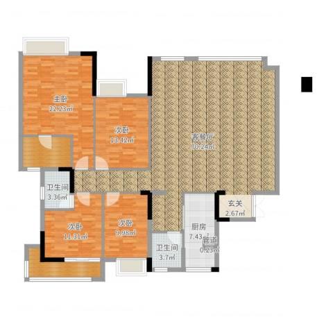 万科西街庭院4室2厅2卫1厨190.00㎡户型图