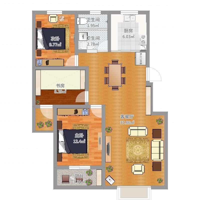 106方三室2厅