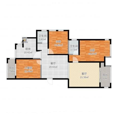 和融优山美地公馆3室2厅2卫1厨144.00㎡户型图