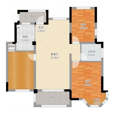 万悦城2室2厅1卫1厨116.00㎡户型图