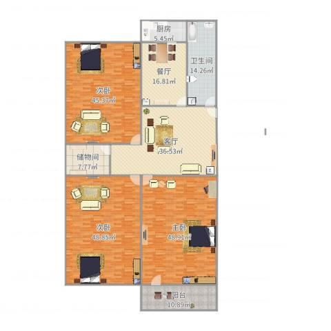 洪楼小区3室2厅1卫1厨294.00㎡户型图