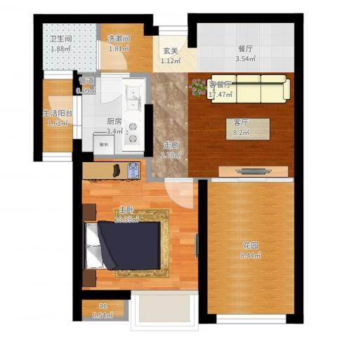 同润菲诗艾伦1室2厅1卫1厨64.00㎡户型图