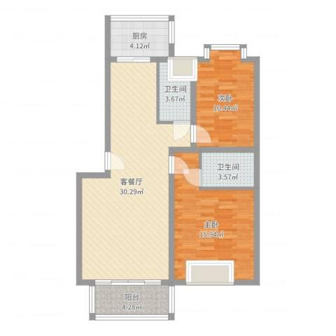 华厦清水湾2室2厅2卫1厨104.00㎡户型图
