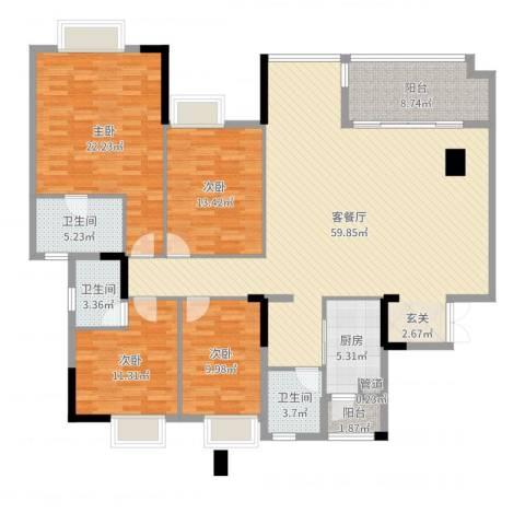 万科西街庭院4室2厅3卫1厨182.00㎡户型图