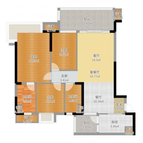 碧桂园凤凰城凤锦苑3室2厅2卫1厨129.00㎡户型图
