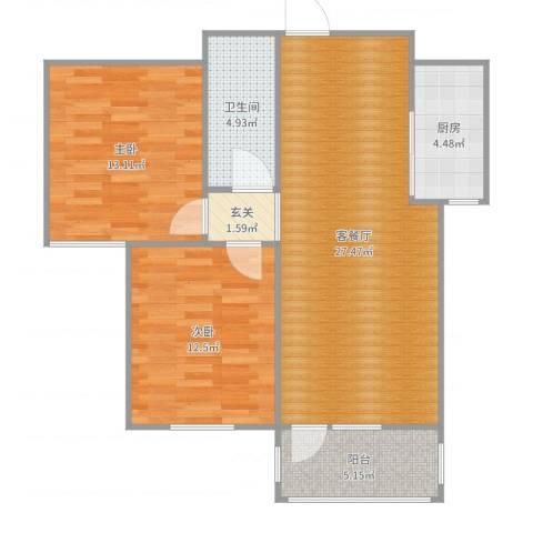 湖玺御墅2室2厅1卫1厨87.00㎡户型图