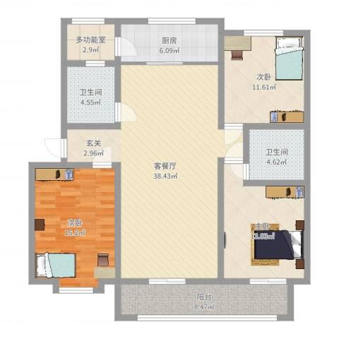 梅兰花园3室2厅2卫1厨131.00㎡户型图