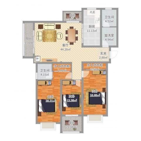 翡翠公馆3室3厅2卫1厨139.00㎡户型图