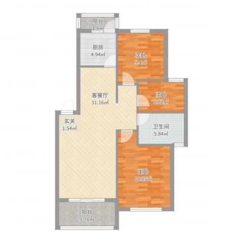 幸福豪庭3室2厅1卫1厨99.00㎡户型图