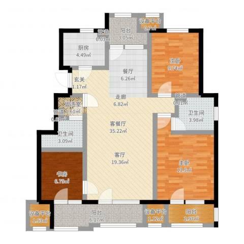 首开香溪郡3室2厅2卫1厨116.00㎡户型图