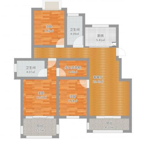 天景名城3室2厅2卫1厨106.00㎡户型图