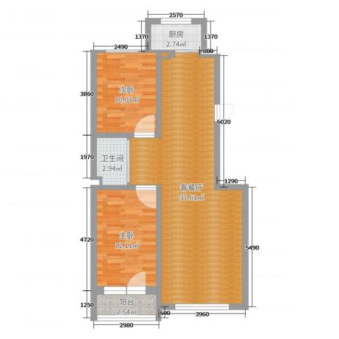 金龙御景8#3单元13022室2厅1卫1厨85.00㎡户型图
