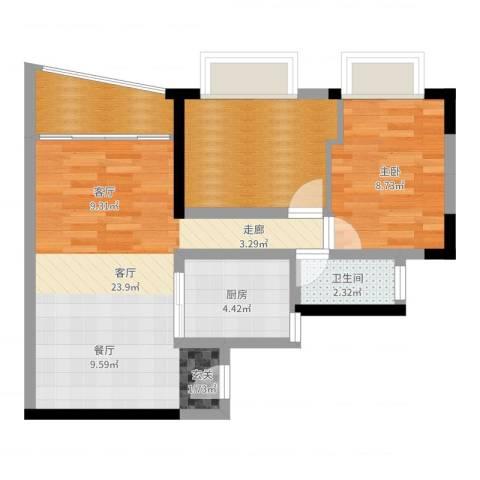 置业广场1室1厅1卫1厨65.00㎡户型图