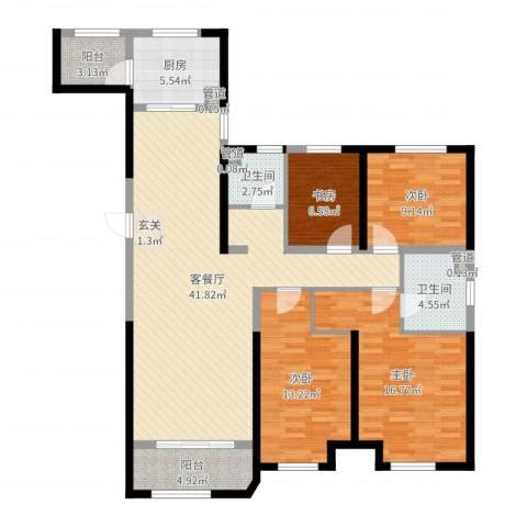 金地艺华年4室2厅2卫1厨136.00㎡户型图