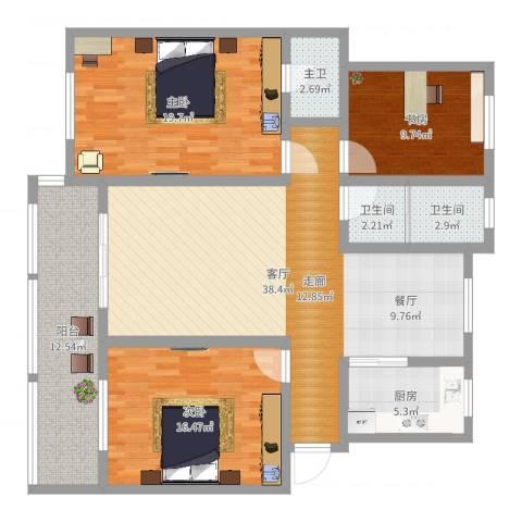和美家园3室1厅2卫1厨109.96㎡户型图