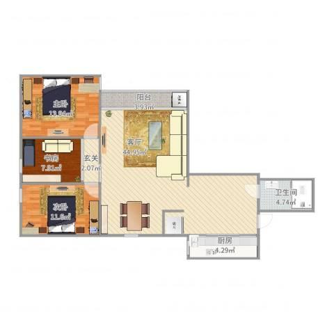 华星大厦3室1厅1卫1厨117.00㎡户型图