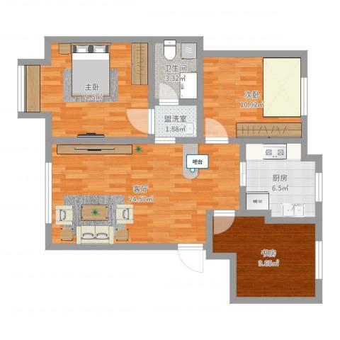 荷兰小镇二期3室3厅1卫1厨89.00㎡户型图