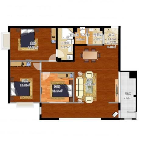 玺萌丽苑3室1厅1卫1厨130.00㎡户型图