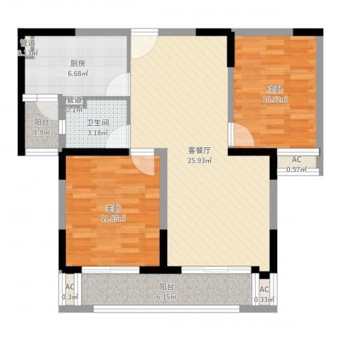 大庆锦绣新城2室2厅1卫1厨84.00㎡户型图