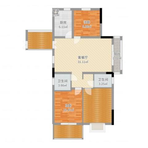 宝兴花园2室2厅2卫1厨117.00㎡户型图