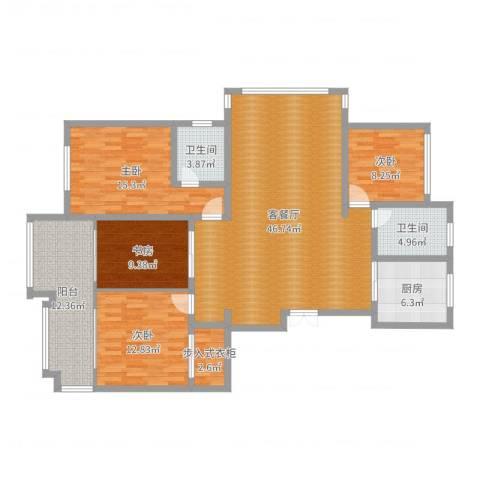 瑞景花园2-丙-9024室2厅2卫1厨153.00㎡户型图