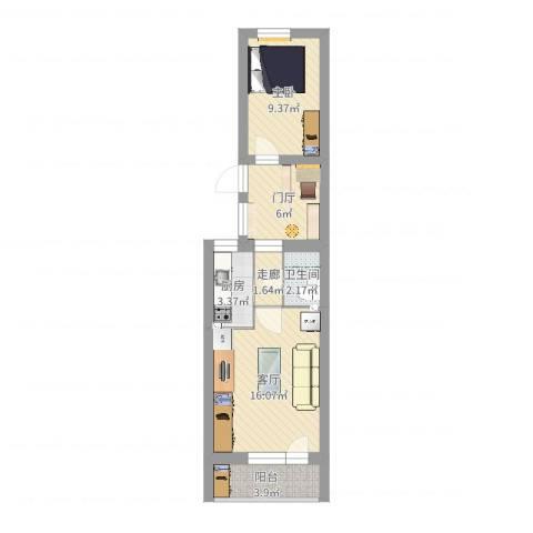 太平桥东里1室1厅1卫1厨53.00㎡户型图