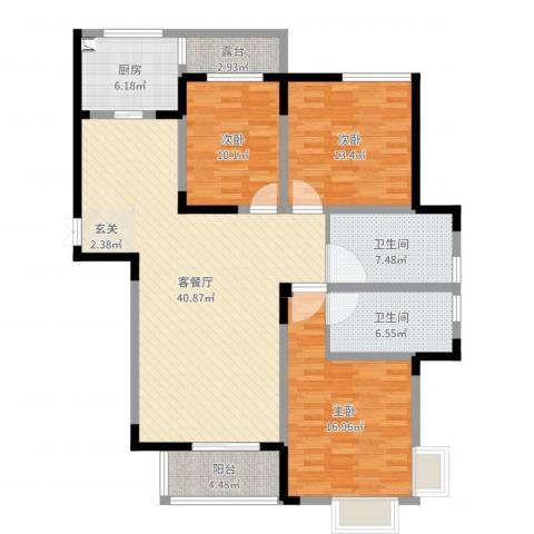 玉屏齐云府3室2厅2卫1厨136.00㎡户型图