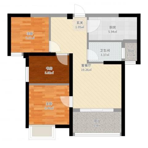上东曼哈顿3室2厅1卫1厨71.00㎡户型图