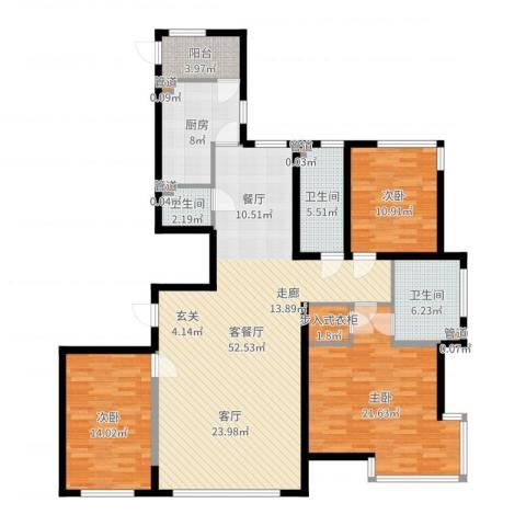 左岸慧晶3室2厅3卫1厨159.00㎡户型图