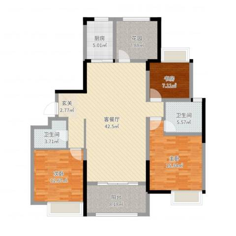紫金城3室2厅2卫1厨153.00㎡户型图