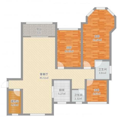 中南锦城3室2厅2卫1厨135.00㎡户型图
